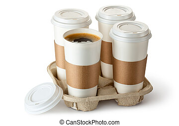 opened., portar via, tazza, holder., caffè, uno, quattro