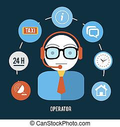 operatore, articolo, differente, icone