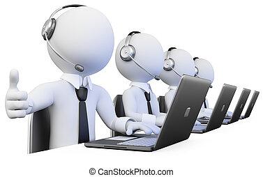 operatori, centro chiamata, lavorativo, 3d