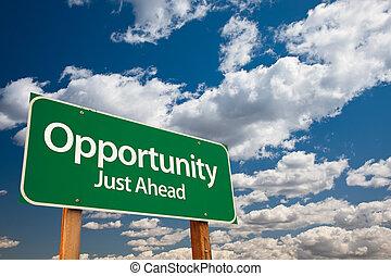 opportunità, verde, segno strada