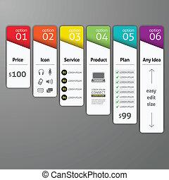 opzioni, template., diagramma, usato, web, passo, sagoma, vettore, infographics, disegno, elemento, essere, workflow, lattina, su, disposizione, numero, disegno, illustration., astratto, bandiera
