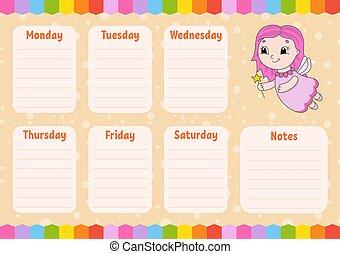orario, vuoto, note., isolato, schoolboys., giovane, cartone animato, fairy., schedule., character., illustration., planer, scuola, template., settimanale, colorare, vettore
