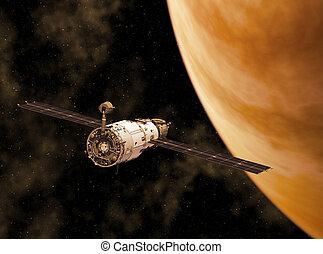 orbitare, pianeta, stazione, giallo, spazio