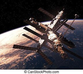 orbitare, terra, stazione, spazio