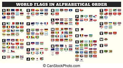 ordine, bandiere, mondo, alfabetico