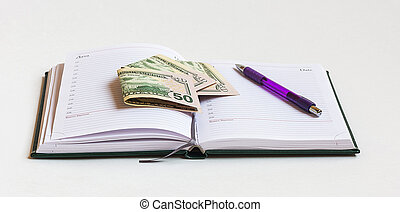ore, lavorativo, banconote, penna, diario, piano, aperto