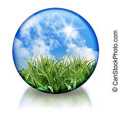 organico, globo, icona, cerchio, natura