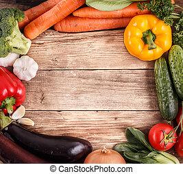 organico, spazio, verdura, text., cibo., legno, fondo