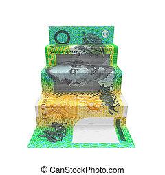 origami, dollaro australiano, scala