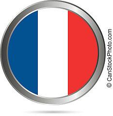 original., colori, bandiera, button., francia