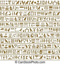 orizzontale, antico, egiziano, seamless, geroglifici