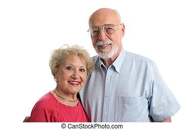 orizzontale, coppia, anziano, insieme
