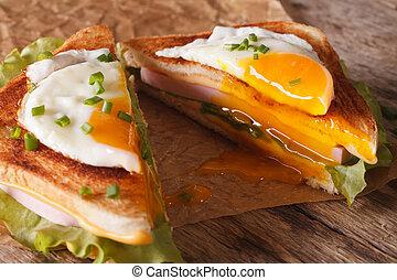 orizzontale, panino, uovo fritto, close-up., mezzo, formaggio, taglio, prosciutto
