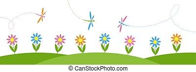 orizzontale, vettore, fiori, fondo, libellule