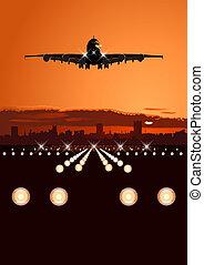 orizzonte, aereo di linea, atterraggio