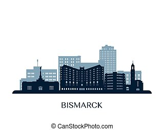 orizzonte, bismarck, monocromatico, silhouette.