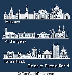 orizzonte, russia., arkhangelsk, città, dark., mosca, novosibirsk, set., silhouette, vettore