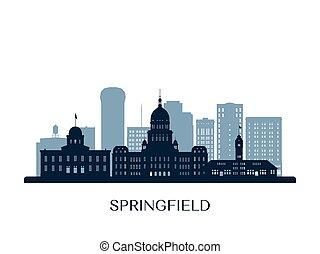 orizzonte, silhouette., monocromatico, springfield