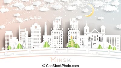 orizzonte, taglio, fiocchi neve, carta, minsk, città, luna, neon, garland., bielorussia, stile