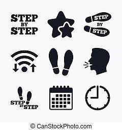 orma, passo, symbols., scarpe, icons.