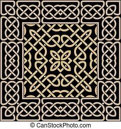 ornament., disegno, linee, sfondo., ornaments., colorito, nodi, pattern., vettore, arte, ripetere, annodato, cornice, intricato, stile, celtico, linee, linea curva, tribale, seamless, quadrato, etnico, contorni, griglia