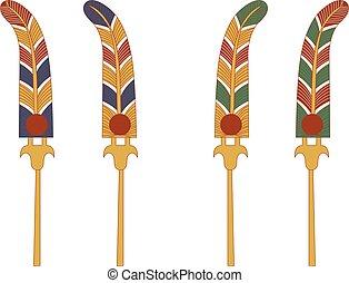 ornamentale, antico, set, elemento, colorare, ventilatore, egitto