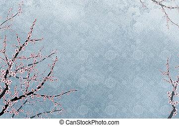 ornamentale, cinese, modello, immagine, albero, filigrana, posto, ciliegia, testo, o
