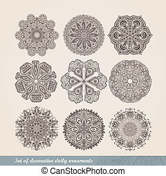 ornamentale, crocheting, set, laccio, fatto mano, occhiate, ornamento, modello, dettagli, indiano, cerchio, ornamento, caleidoscopico, fondo, floreale, come, lace., molti, mandala., vettore, nove, rotondo