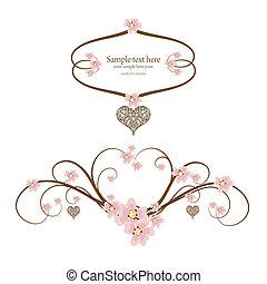 ornamentale, cuore, testo, cornice, posto, tuo