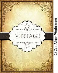ornamentale, eps10, frame., illustrazione, vendemmia, vettore, fondo