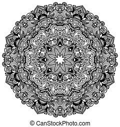 ornamentale, laccio, ornamento, modello, cerchio, nero, collezione, geometrico, doily, bianco, rotondo