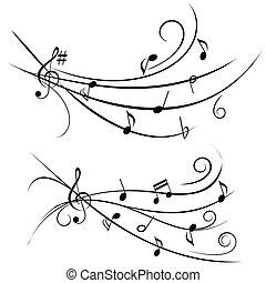 ornamentale, note, musica, personale
