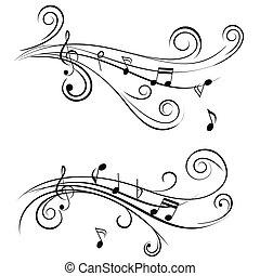 ornamentale, note, musica