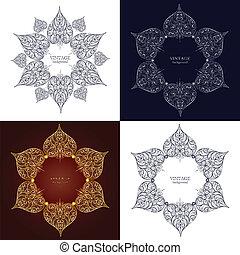 ornamentale, set, laccio, ornamento, quattro, cerchio, rotondo