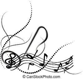 ornamentale, turbini, note, musica, fondo, bianco