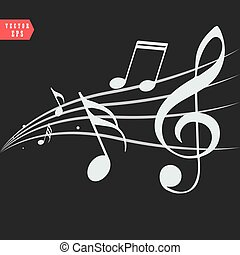 ornamentale, turbini, note, musica, fondo, nero