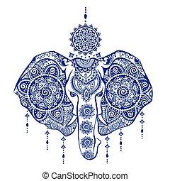 ornamenti, elefante, illustrazione, tribale, indiano, vendemmia