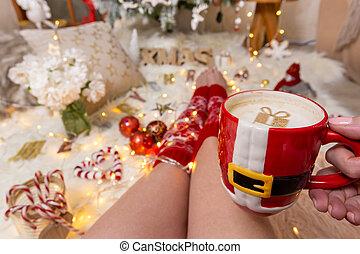 ornamenti, luci delicate, natale, festivo, cappaccino