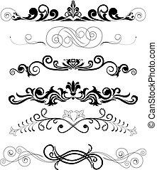 ornamenti, nero, set
