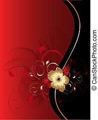 ornamento, astratto, floreale, onde
