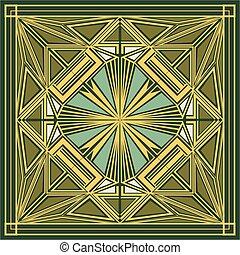 ornamento, quadrato, deco arte