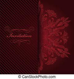 ornamento, rosso, invito