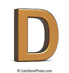 oro, 3d, d, lettera, lucido