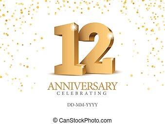 oro, 3d, numbers., anniversario, 12.