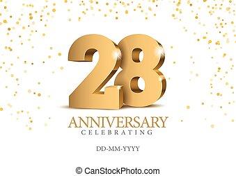 oro, 3d, numbers., anniversario, 28.