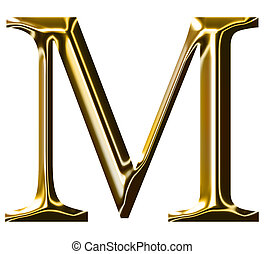 oro, alfabeto, m, simbolo