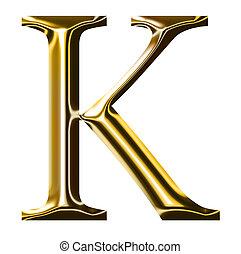oro, alfabeto, simbolo, k