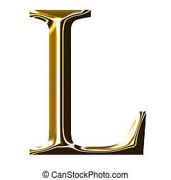 oro, alfabeto, simbolo, l