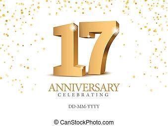 oro, anniversario, numbers., 17., 3d
