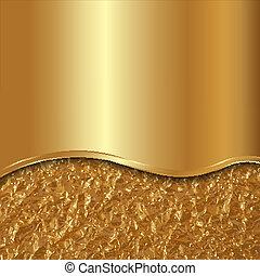 oro, astratto, curva, lamina, vettore, fondo